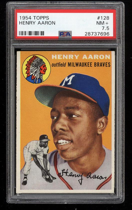 Image 1 of: 1954 Topps Hank Aaron ROOKIE RC #128 PSA 7.5 NRMT+ (PWCC)