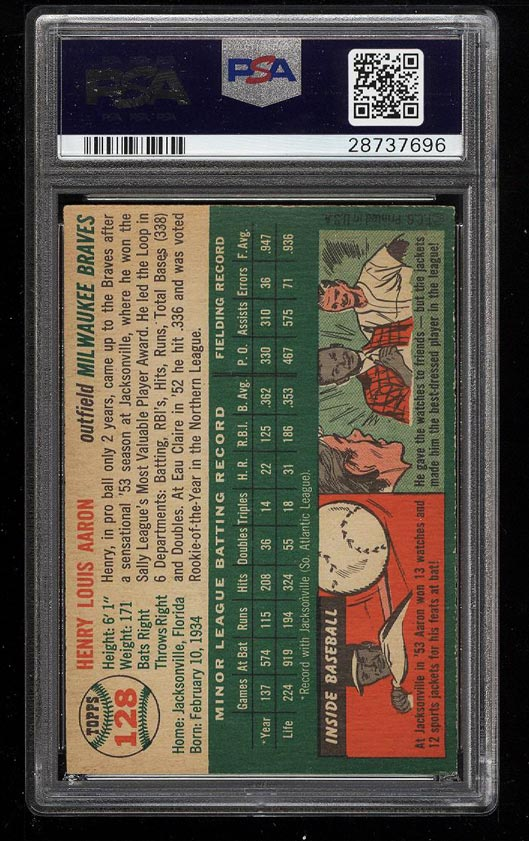 Image 2 of: 1954 Topps Hank Aaron ROOKIE RC #128 PSA 7.5 NRMT+ (PWCC)