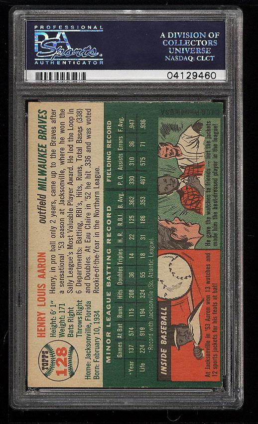 Image 2 of: 1954 Topps Hank Aaron ROOKIE RC #128 PSA 7 NRMT (PWCC)