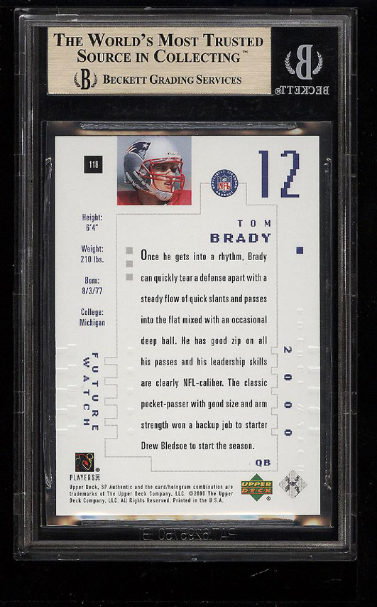 Image 2 of: 2000 SP Authentic Tom Brady ROOKIE RC /1250 #118 BGS 9.5 GEM MINT (PWCC)