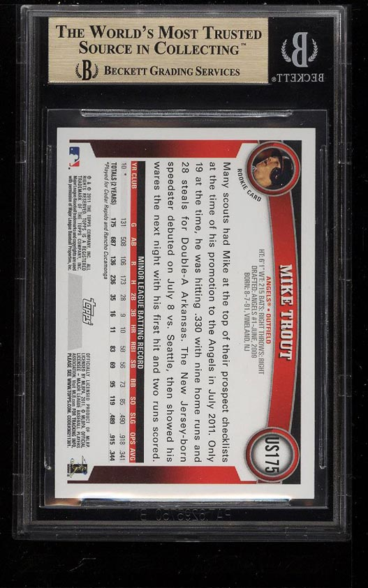 Image 2 of: 2011 Topps Update Target Red Border Mike Trout ROOKIE #175 BGS 9.5 GEM MT (PWCC)
