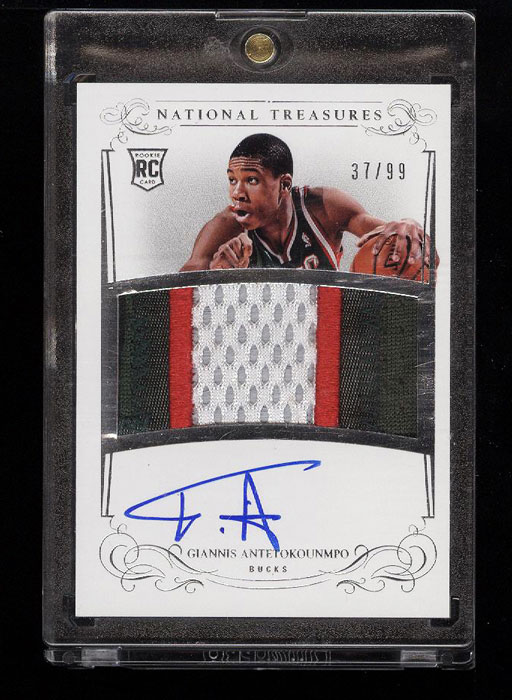 Image 1 of: 2013 National Treasures Giannis Antetokounmpo ROOKIE RC AUTO PATCH /99 (PWCC)