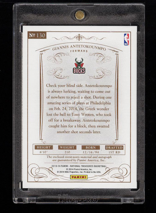Image 2 of: 2013 National Treasures Giannis Antetokounmpo ROOKIE RC AUTO PATCH /99 (PWCC)