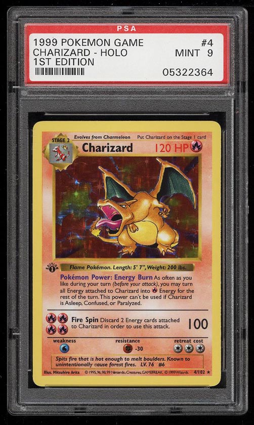 Image 1 of: 1999 Pokemon Game 1st Edition Holo Charizard #4 PSA 9 MINT (PWCC)