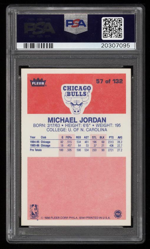 Image 2 of: 1986 Fleer Basketball Michael Jordan ROOKIE RC #57 PSA 10 GEM MINT (PWCC)