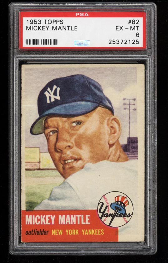 Image 1 of: 1953 Topps Mickey Mantle SHORT PRINT #82 PSA 6 EXMT (PWCC)