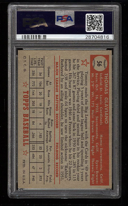 Image 2 of: 1952 Topps Tommy Glaviano #56 PSA 9 MINT (PWCC)
