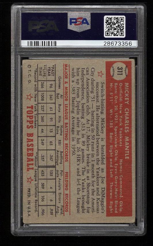 Image 2 of: 1952 Topps Mickey Mantle #311 PSA 1 PR (PWCC)