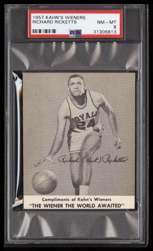 Image of: 1957 Kahn's Wieners Basketball Richard Ricketts PSA 8 NM-MT (PWCC)