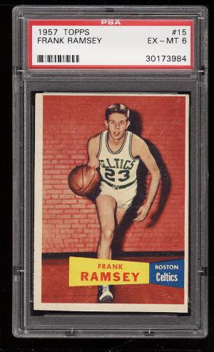 Image of: 1957 Topps Basketball Frank Ramsey ROOKIE RC #15 PSA 6 EXMT (PWCC)