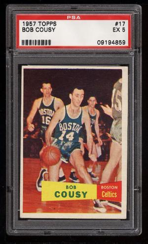 Image of: 1957 Topps Basketball Bob Cousy ROOKIE RC #17 PSA 5 EX (PWCC)
