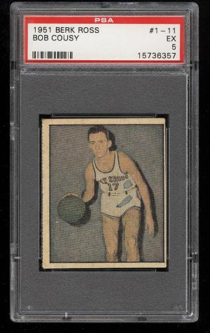 Image of: 1951 Berk Ross Bob Cousy ROOKIE RC #1-11 PSA 5 EX (PWCC)