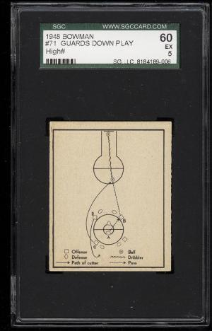 Image of: 1948 Bowman Basketball Guard Down Play From A Center Jump #71 SGC 60/5 EX (PWCC)