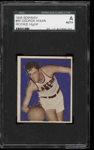 Image of: 1948 Bowman Basketball George Mikan ROOKIE RC #69 SGC Auth (PWCC)
