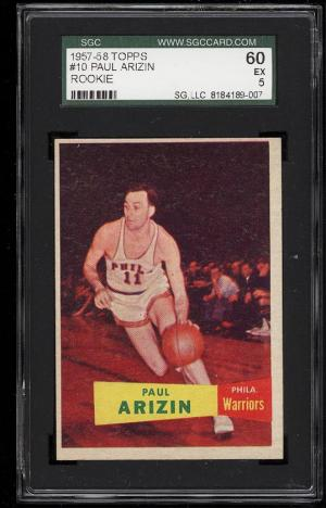 Image of: 1957 Topps Basketball Paul Arizin ROOKIE RC #10 SGC 60/5 EX (PWCC)