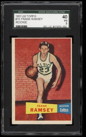 Image of: 1957 Topps Basketball Frank Ramsey ROOKIE RC #15 SGC 40/3 VG (PWCC)
