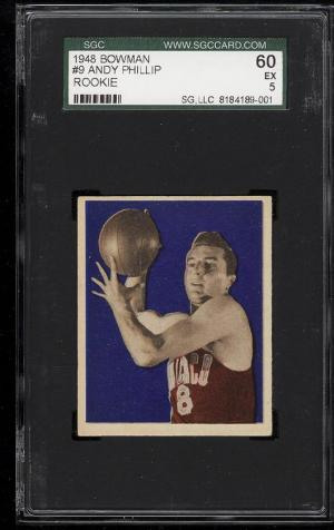 Image of: 1948 Bowman Basketball Andy Phillip ROOKIE RC #9 SGC 60/5 EX (PWCC)