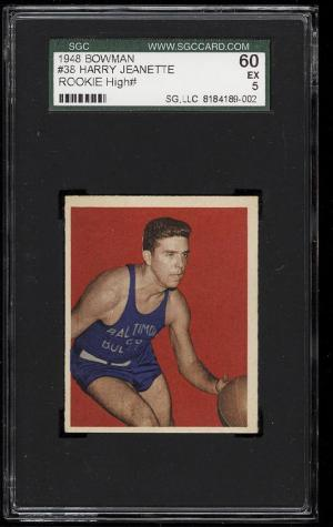 Image of: 1948 Bowman Basketball Harry Jeanette ROOKIE RC #38 SGC 60/5 EX (PWCC)