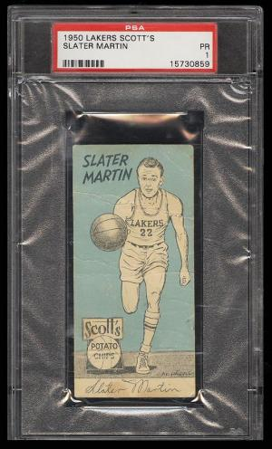 Image of: 1950 Lakers Scott's Basketball Slater Martin ROOKIE RC PSA 1 PR (PWCC)