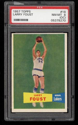 Image of: 1957 Topps Basketball Larry Foust #18 PSA 8(oc) NM-MT (PWCC)