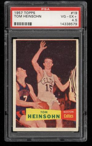 Image of: 1957 Topps Basketball Tom Heinsohn SP ROOKIE RC #19 PSA 4.5 VGEX+ (PWCC)