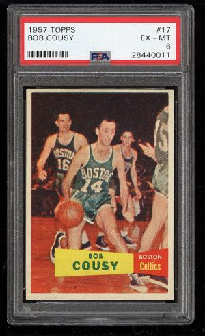 Image of: 1957 Topps Basketball Bob Cousy ROOKIE RC #17 PSA 6 EXMT (PWCC)