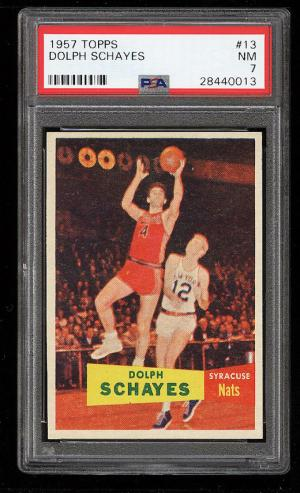 Image of: 1957 Topps Basketball Dolph Schayes ROOKIE RC #13 PSA 7 NRMT (PWCC)