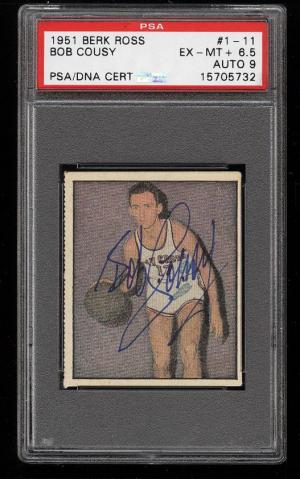 Image of: 1951 Berk Ross Bob Cousy ROOKIE RC, PSA/DNA 9 AUTO #1-11 PSA 6.5 EXMT+ (PWCC)