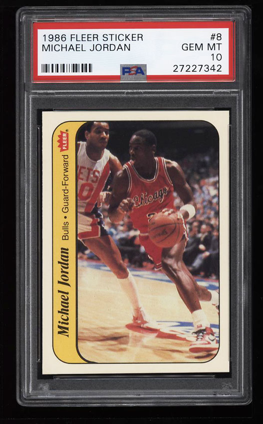 Image 1 of: 1986 Fleer Sticker Basketball Michael Jordan ROOKIE RC #8 PSA 10 GEM MINT (PWCC)