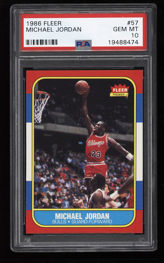Image 1 of: 1986 Fleer Basketball Michael Jordan ROOKIE RC #57 PSA 10 GEM MINT (PWCC)