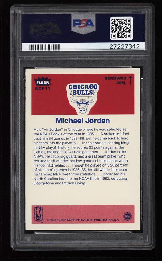 Image 2 of: 1986 Fleer Sticker Basketball Michael Jordan ROOKIE RC #8 PSA 10 GEM MINT (PWCC)