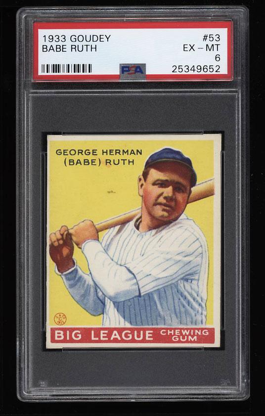 Image 1 of: 1933 Goudey Babe Ruth #53 PSA 6 EXMT (PWCC)