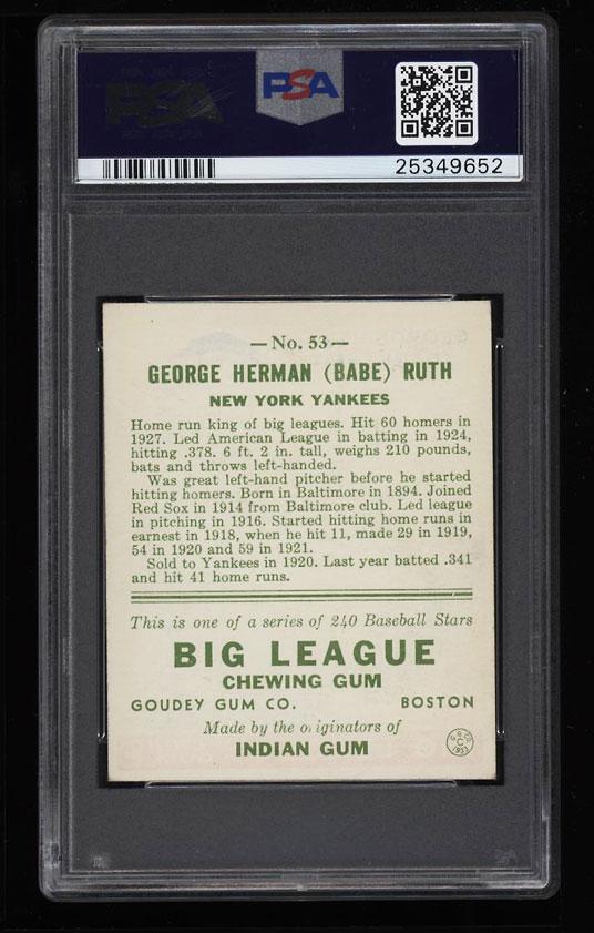 Image 2 of: 1933 Goudey Babe Ruth #53 PSA 6 EXMT (PWCC)