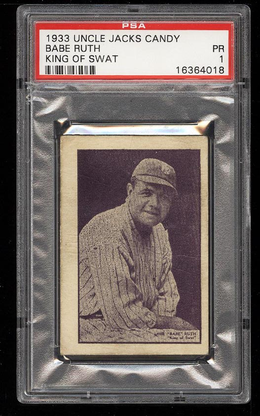 Image 1 of: 1933 Uncle Jacks Candy King Of Swat Babe Ruth PSA 1 PR (PWCC)