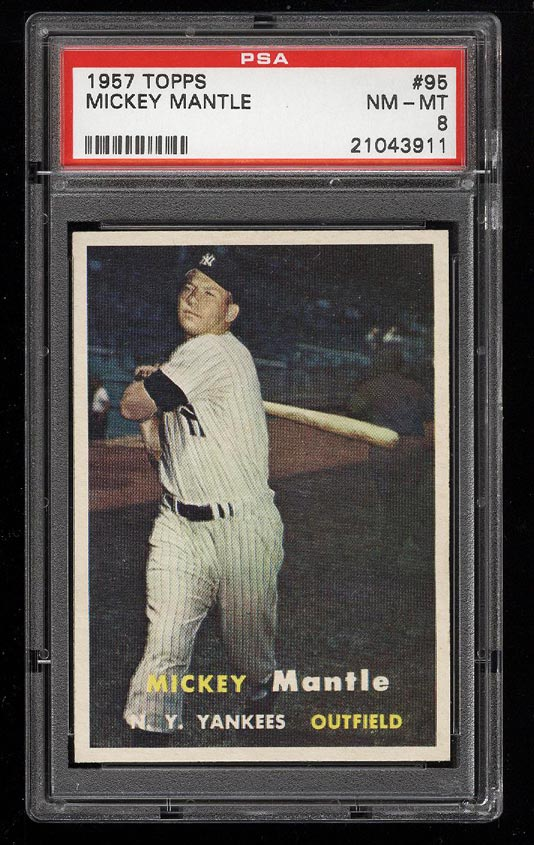 Image 1 of: 1957 Topps Mickey Mantle #95 PSA 8 NM-MT (PWCC)