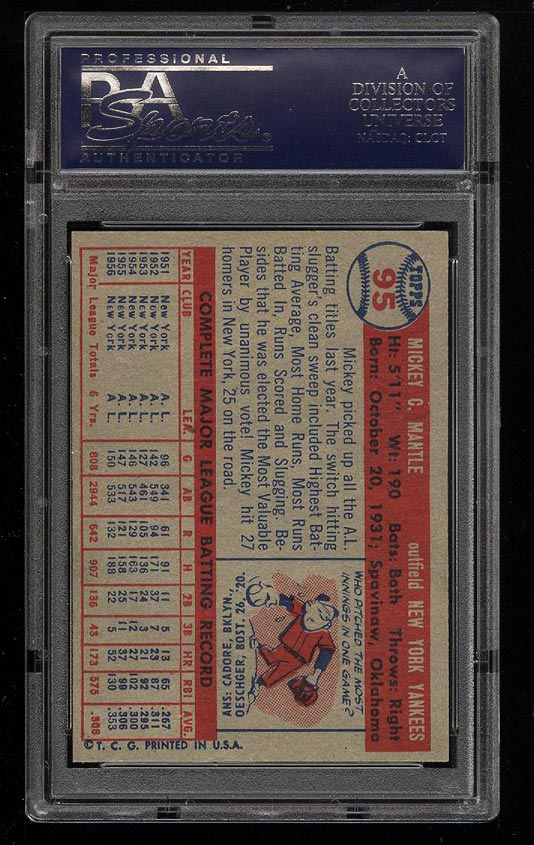 Image 2 of: 1957 Topps Mickey Mantle #95 PSA 8 NM-MT (PWCC)