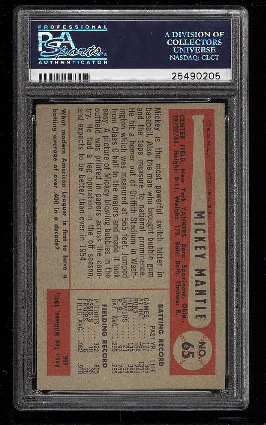 Image 2 of: 1954 Bowman Mickey Mantle #65 PSA 8 NM-MT (PWCC)