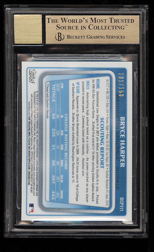 Image 2 of: 2011 Bowman Chrome Blue Refractor Bryce Harper ROOKIE AUTO /150 BGS 9.5 (PWCC)