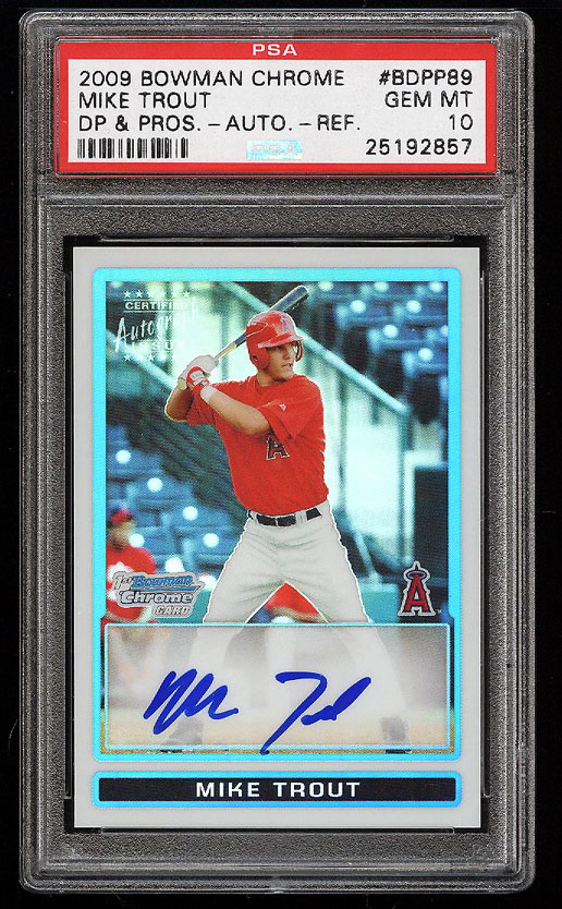 Image 1 of: 2009 Bowman Chrome Refractor Mike Trout ROOKIE RC AUTO /500 PSA 10 GEM MT (PWCC)