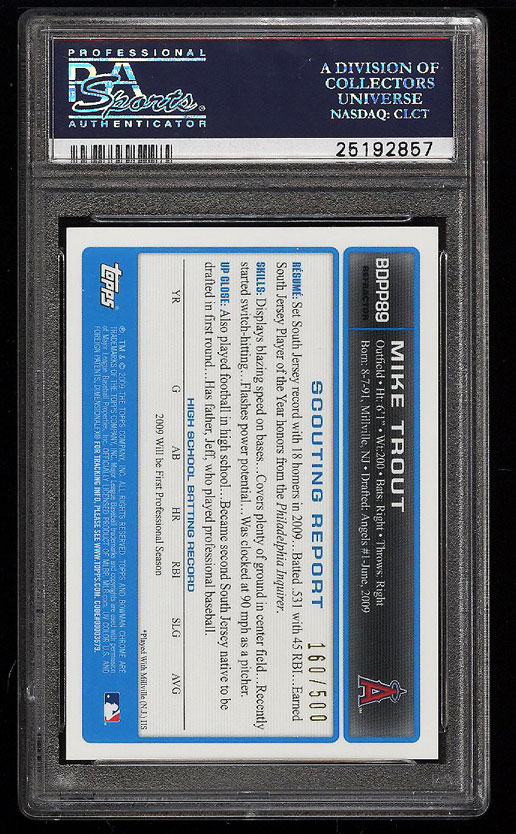 Image 2 of: 2009 Bowman Chrome Refractor Mike Trout ROOKIE RC AUTO /500 PSA 10 GEM MT (PWCC)