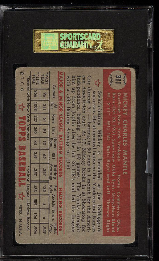 Image 2 of: 1952 Topps Mickey Mantle #311 SGC 30/2 GD (PWCC)