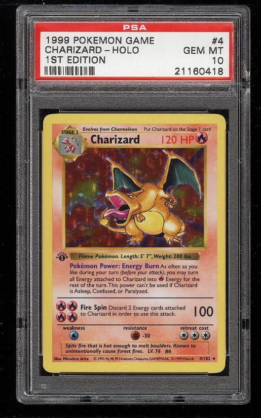 Image 1 of: 1999 Pokemon Game 1st Edition Holo Charizard #4 PSA 10 GEM MINT (PWCC)