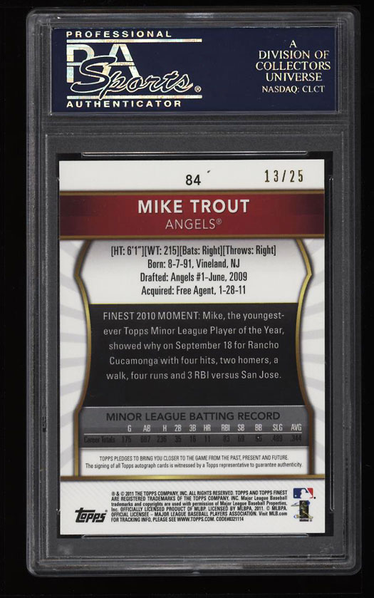 Image 2 of: 2011 Finest Red Refractor Mike Trout ROOKIE RC AUTO /25 #84 PSA 10 GEM MT (PWCC)