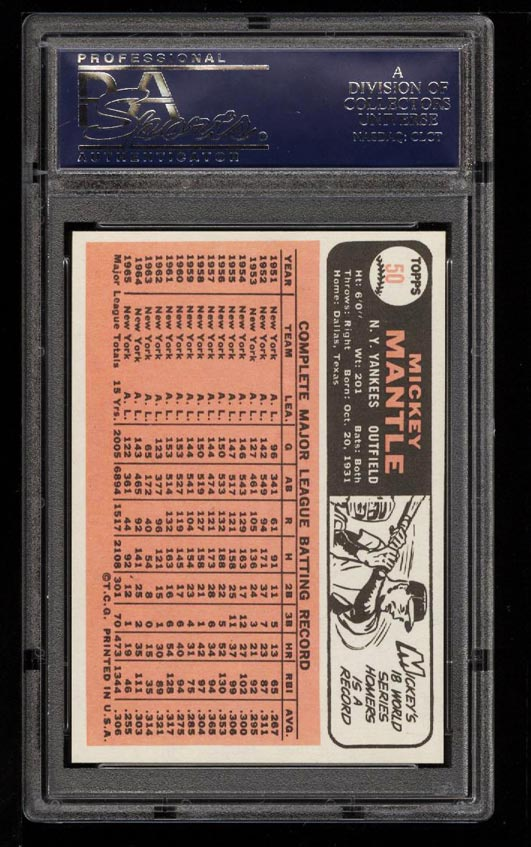 Image 2 of: 1966 Topps Mickey Mantle #50 PSA 9 MINT (PWCC)