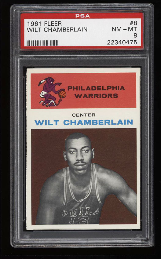 Image 1 of: 1961 Fleer Basketball Wilt Chamberlain ROOKIE RC #8 PSA 8 NM-MT (PWCC)