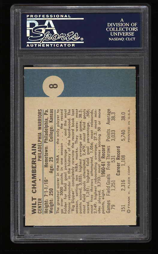 Image 2 of: 1961 Fleer Basketball Wilt Chamberlain ROOKIE RC #8 PSA 8 NM-MT (PWCC)