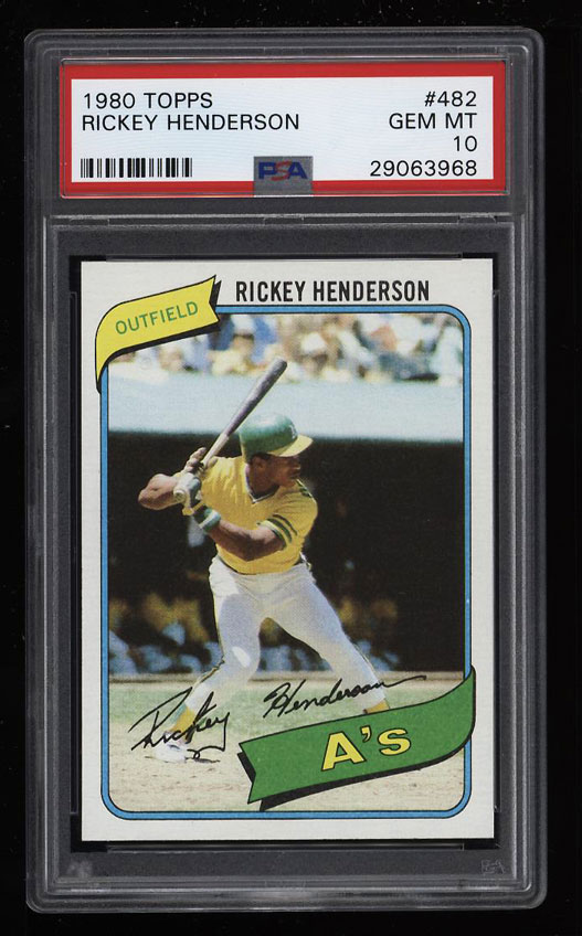 Image 1 of: 1980 Topps Rickey Henderson ROOKIE RC #482 PSA 10 GEM MINT (PWCC)