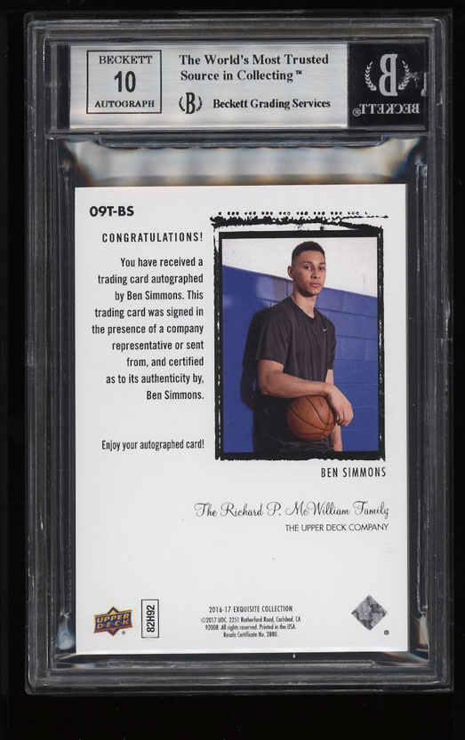 Image 2 of: 2016 Exquisite Collection '09 Tribute Ben Simmons ROOKIE AUTO /99 BGS 9 (PWCC)