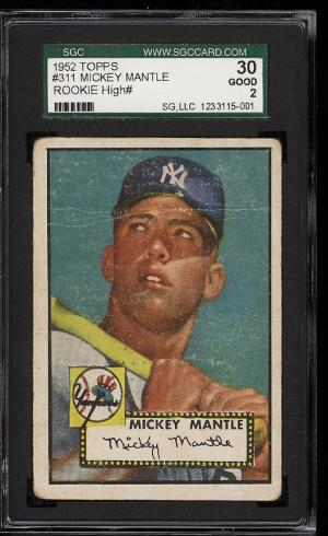 Image of: 1952 Topps Mickey Mantle #311 SGC 30/2 GD (PWCC)