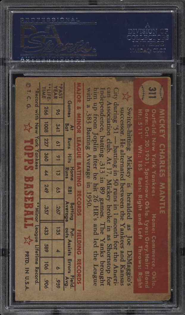 Image 2 of: 1952 Topps Mickey Mantle #311 PSA 1 PR (PWCC)